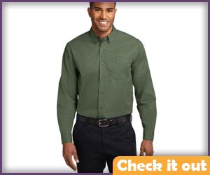 Flat Green Button Up Shirt.
