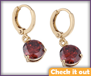 Gold Earrings Red Stone.