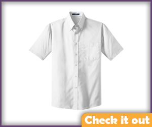 White Collared Short-Sleeve Shirt.