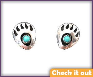 Moonstar Costume Bear Paw Print Turquoise Earrings.