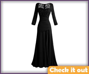 Lace Sleeve Black Dress.