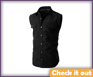 Black Collared Sleeveless Shirt.