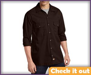 Dark Brown 3/4 Sleeve Button Shirt.