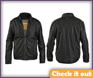 Black Western Style Leather Jacket.
