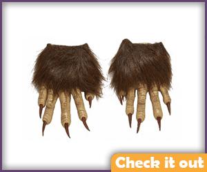 Brown Fur Half Wolfman Gloves.