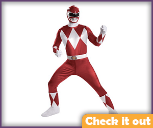 Red Power Ranger Costume Bodysuit.