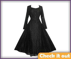 Sansa Stark Costume Black Medieval Dress.