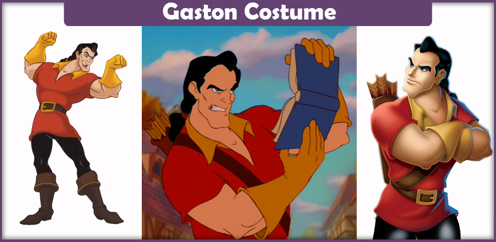 Adult Disney Animated Movie Beauty And The Beast Gaston Shirt Gloves and Wig