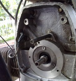 you need to open the ignition cover at the front of the engine to find the ignition system disconnect the wires going to spark plugs and remove  [ 2048 x 1536 Pixel ]