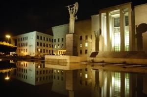 veduta notturna rettorato universit_ di roma