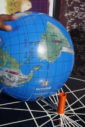 True Globe, note this globe circles the equator