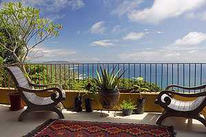 A photo from the master suite from the balcony at all-inclusive yoga retreat center Anamaya, in Montezuma, Costa Rica