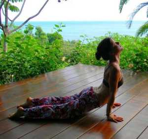 Woman practicing Cobra Pose