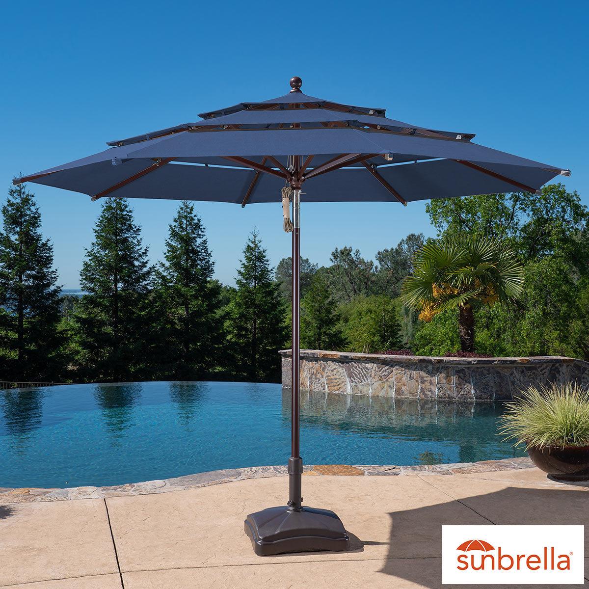 activa 11ft aluminium umbrella with wood finish indigo costco uk