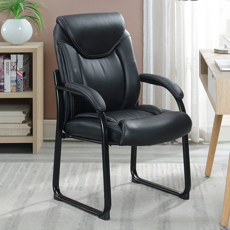 True Innovations Black Bonded Leather Guest Chair  Costco UK
