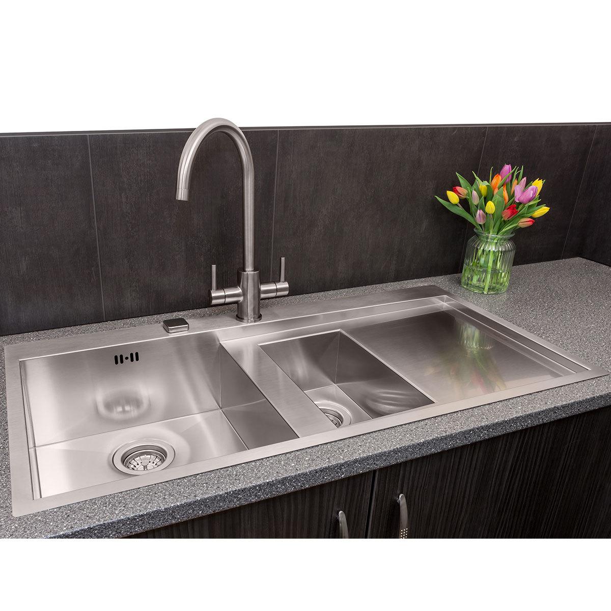 reginox ontario 1 5 bowl stainless steel sink in 2 styles costco uk