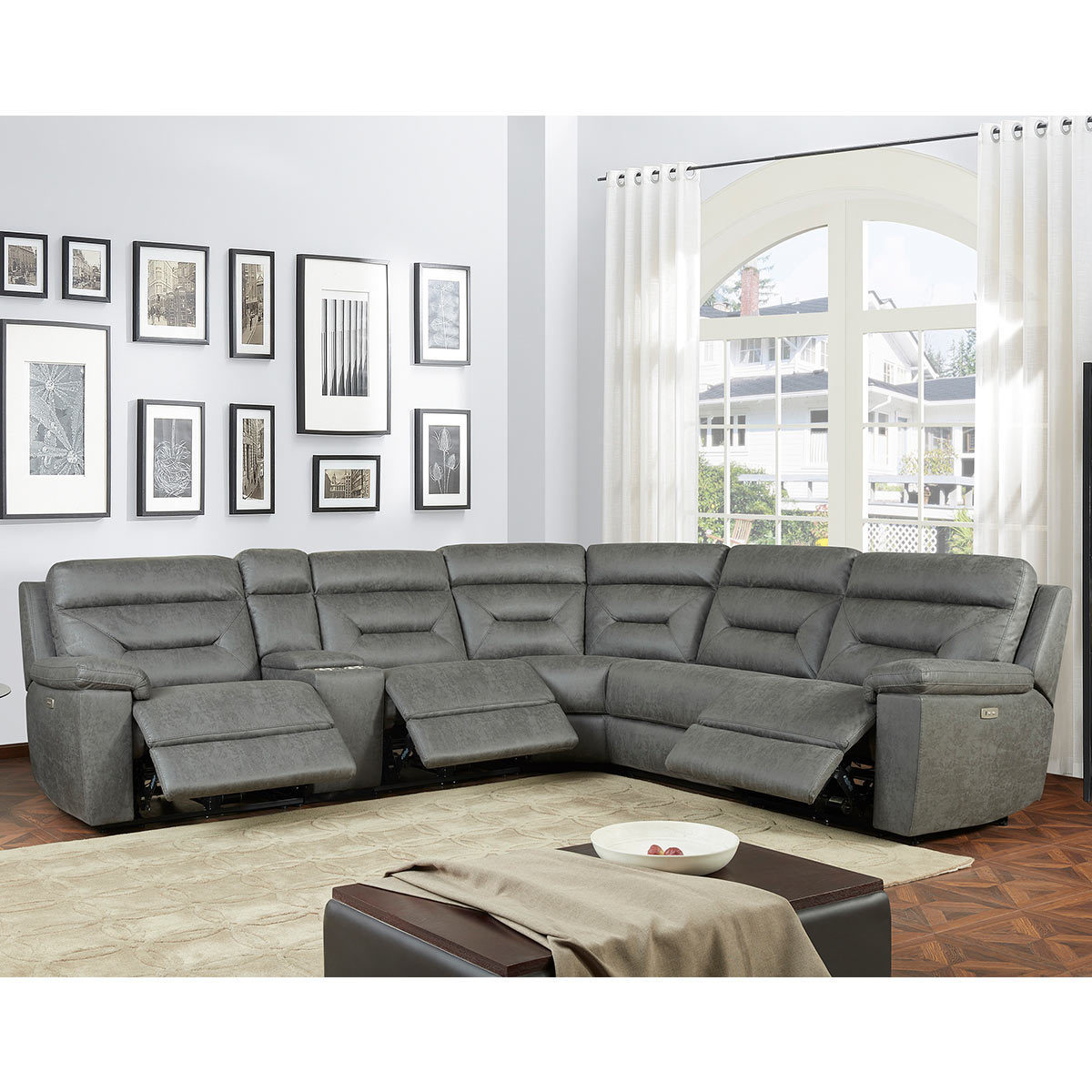 kuka justin grey fabric power reclining sectional sofa costco uk