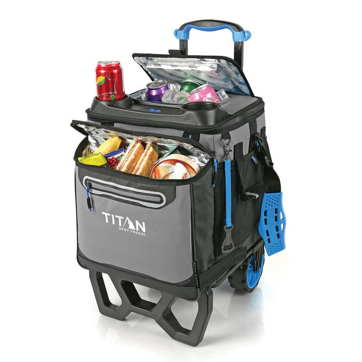 titan 22 5 litre 23 7 us quart 60 can rolling cooler with all terrain cart costco uk