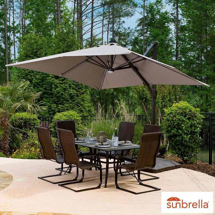 seasons sentry 10ft 3 05m square offset solar led cantilever umbrella costco uk