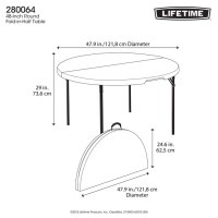 """Lifetime 48"""" (4ft) Round Fold in Half Commercial Table in ..."""