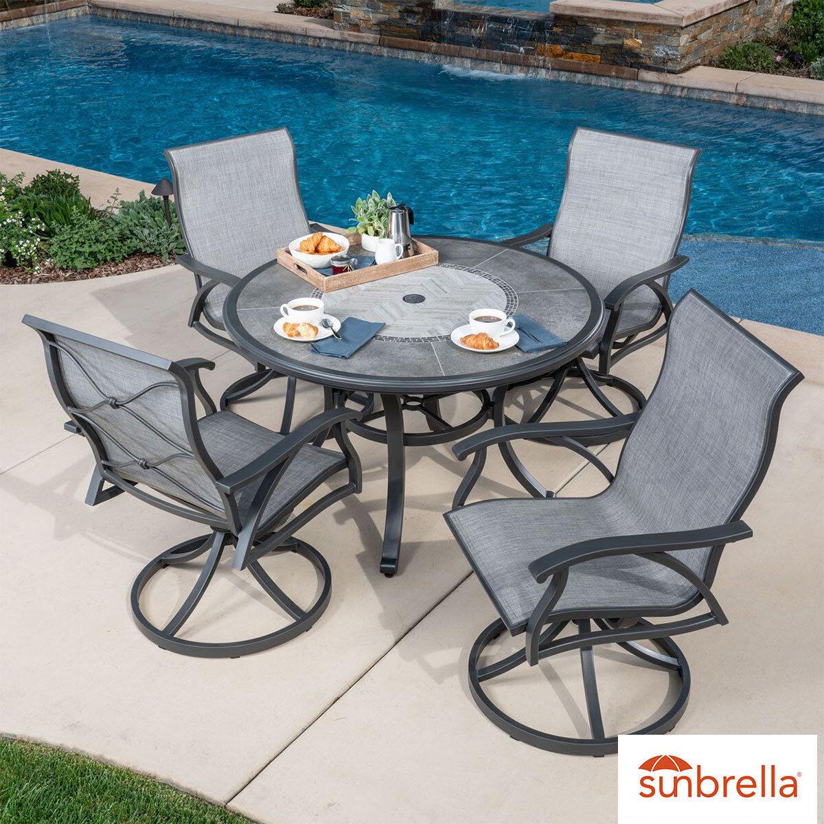 sunvilla santa fe 5 piece sling dining patio set cover costco uk