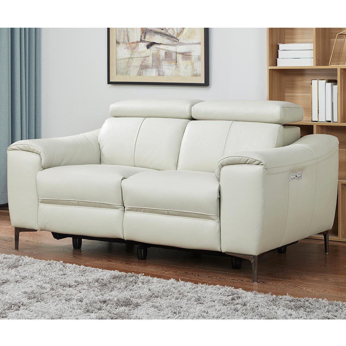 kuka warren 2 seater light grey leather power reclining sofa costco uk