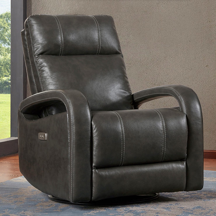 Kuka Grey Leather Power Recliner Chair with Swivel  Glide