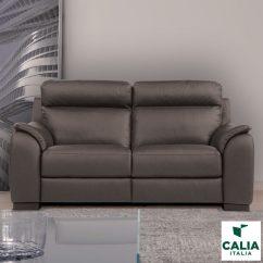 Italy Leather Sofa Uk How To Remove Mold From Cushions Calia Italia Serena 2 Seater Power Recliner Grey Italian Costco