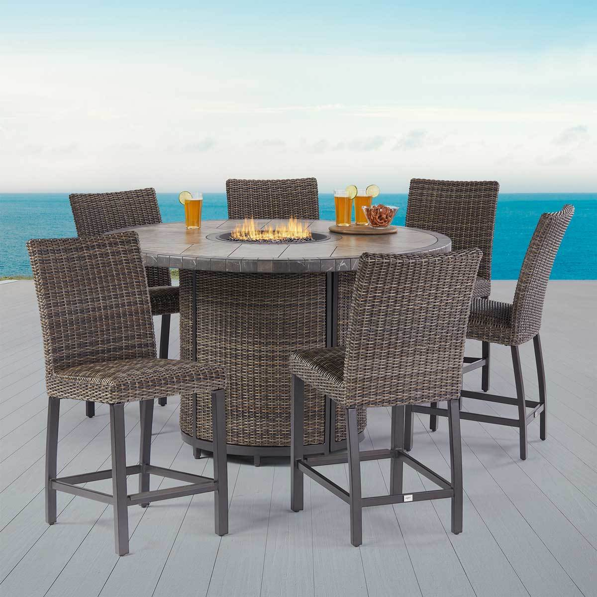 agio springdale 7 piece bar height fire chat patio set cover costco uk
