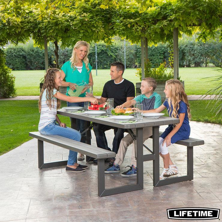 lifetime 6ft 1 82m rough cut picnic table costco uk