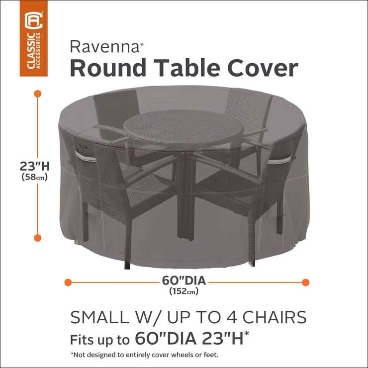 classic accessories ravenna round patio table and chair set cover costco uk