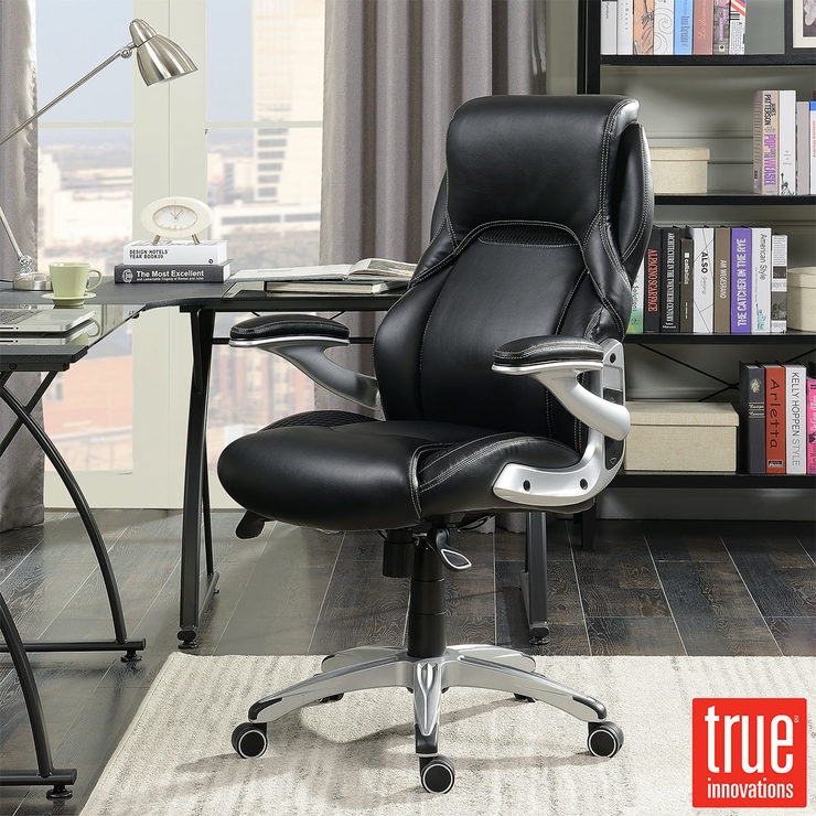 True Innovations Black Bonded Leather Managers Chair