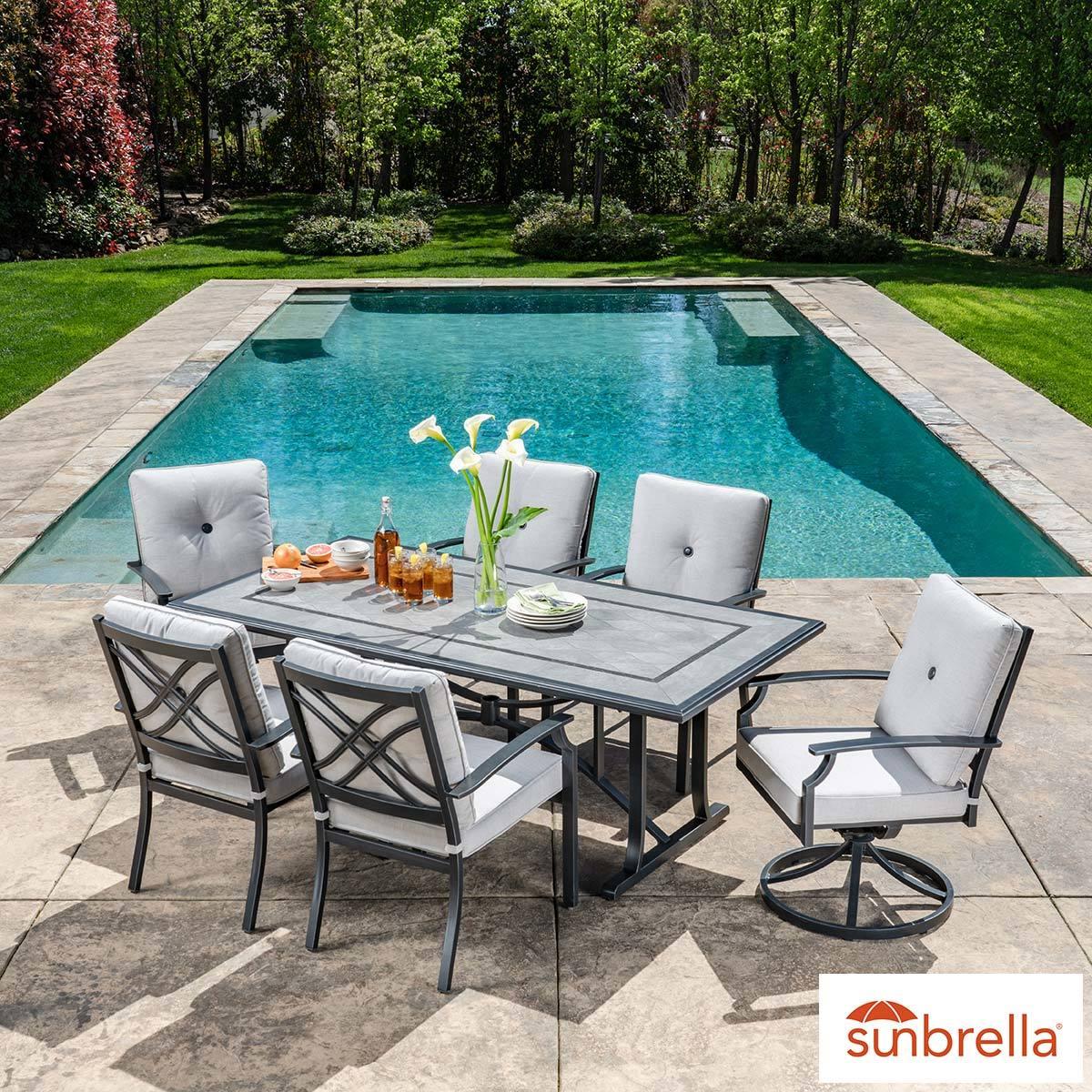 sunvilla hamilton 7 piece cushions dining patio set cover costco uk