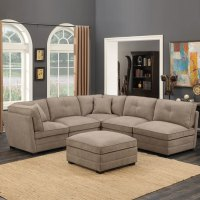 Barrington 6 Piece Modular Beige Fabric Sectional Sofa ...