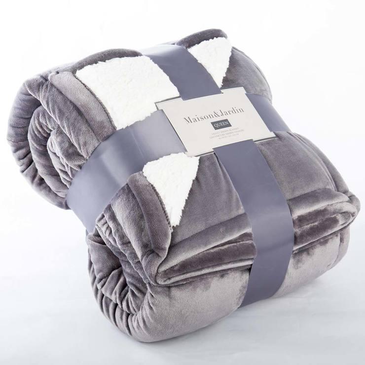 Maison Jardin Queen Velvet Sherpa Blanket In Steelgrey Costco Uk
