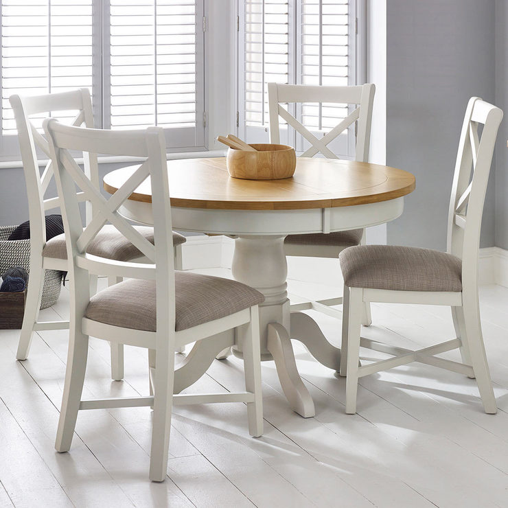 Bordeaux Painted Ivory Round Extending Dining Table 4