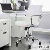 Global Furniture Bonded Leather Task Chair in White