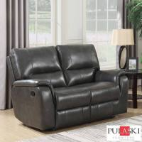 Pulaski 2 Seater Grey Leather Manual Recliner Sofa | Costco UK