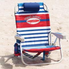 Tommy Bahama Beach Chair Uk Dining Covers Canada Backpack Folding In Red & Blue Stripes | Costco
