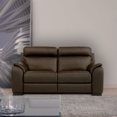 Electric Recliner Leather Sofas Uk Slipcovered Cheap Calia Italia Serena 2 Seater Power Brown Italian Sofa Costco