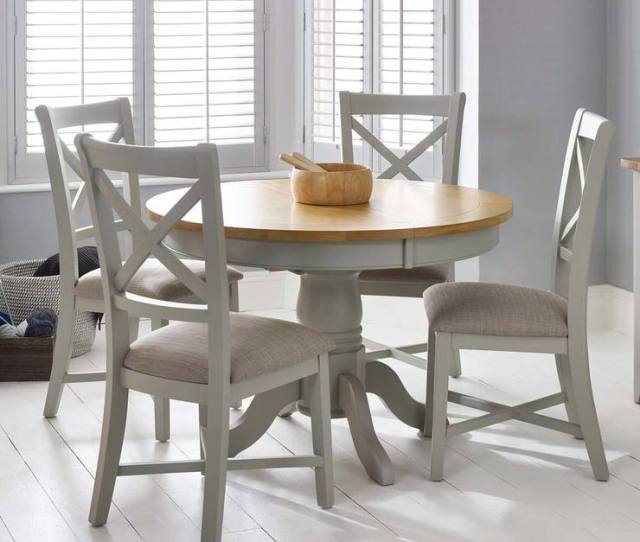 Bordeaux Painted Light Grey Round Extending Dining Table 4 Chairs Seats 4 6