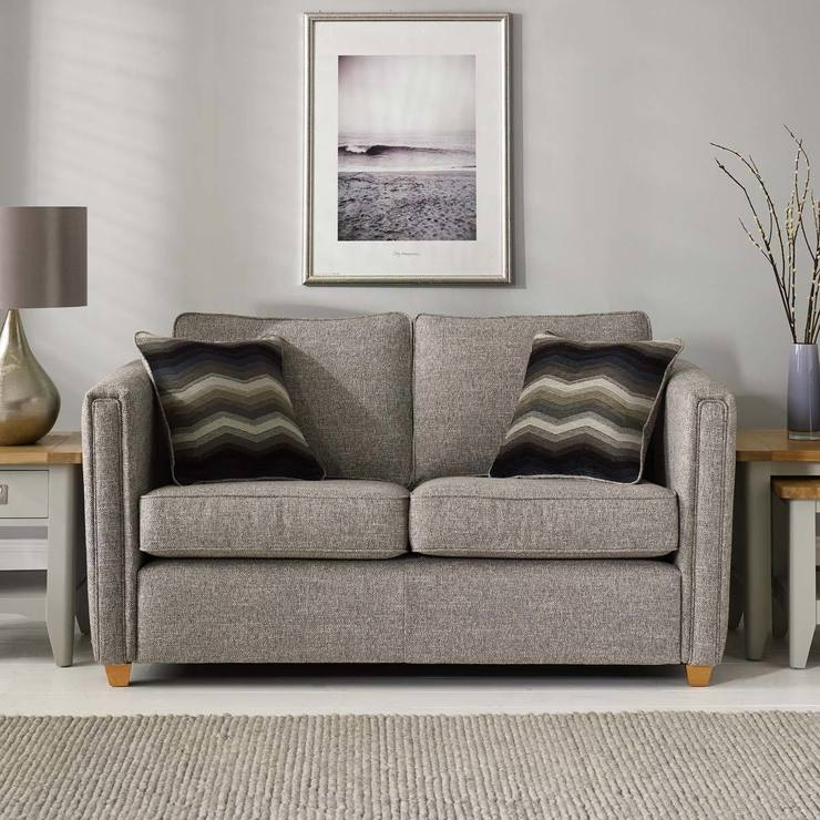 grey fabric sofa uk corner sofas for bedrooms ohio 2 seater with accent pillows costco