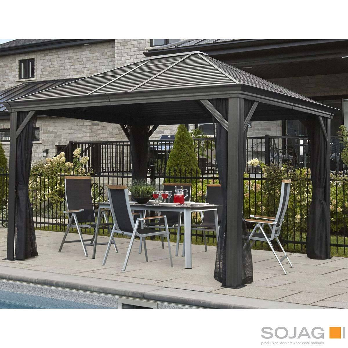 sojag mykonos 10ft x 12ft 3 05 x 3 65m aluminium frame sun shelter with galvanised steel roof insect netting costco uk