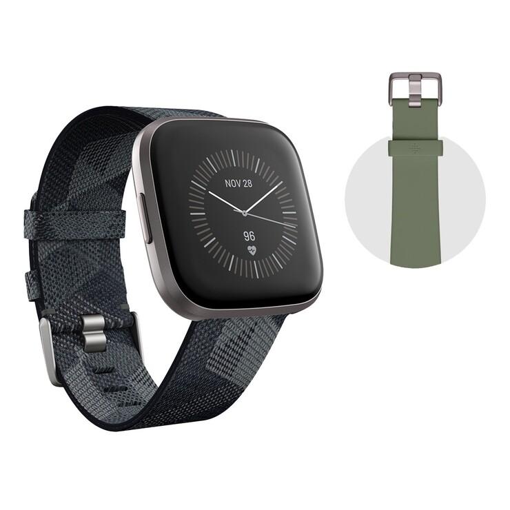 Fitbit 健康運動智慧手錶雙錶帶版 Versa 2 灰框菸灰編織錶帶   Costco 好市多線上購物