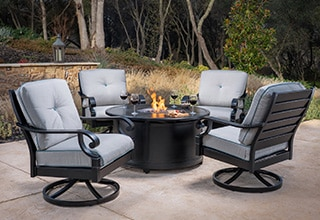 fire pit table and chairs costco swivel chair in tagalog patio & outdoor furniture |