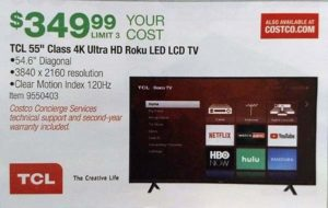 TCL 55in 4k LED TV