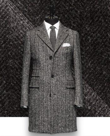 Manteau Gris Anthracite sur mesure gris foncé à chevrons costume privé paris