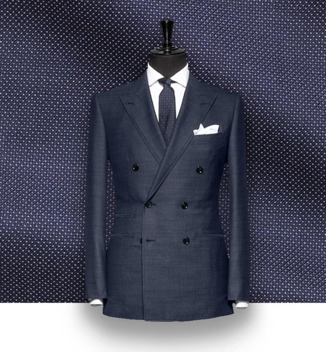 costume bleu croisé micro motifs costume sur mesure