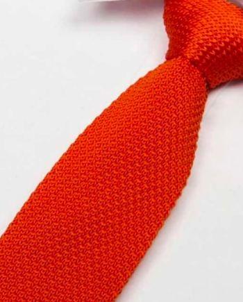 cravate tricot orange maille cravate italienne