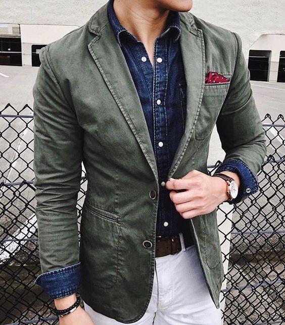 blazer coton veste vert sur-mesure paris